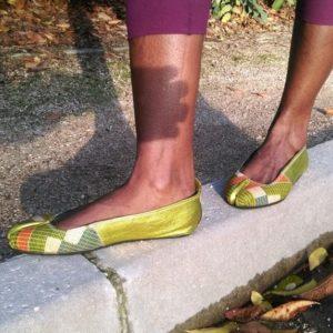 yankady ballerine en cuir wax africain tissus wax