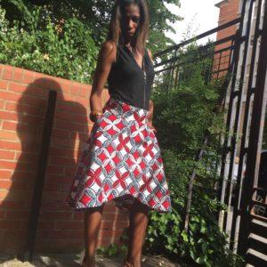 jupe évasée en tissus africain wax sur yankady
